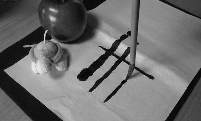 リンゴとぬいぐるみの絵手紙