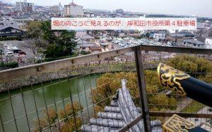 市役所第4駐車場が見える岸和田城の天守