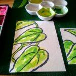 絵手紙で観葉植物を描く