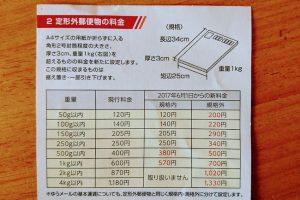 定形外郵便物料金の変更