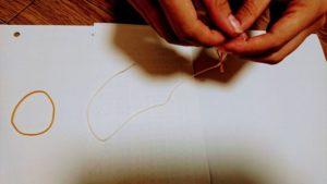 タコ糸と輪ゴム