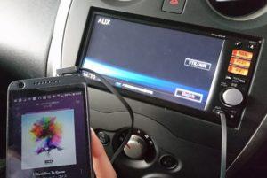 車でスマホ音楽を聴くaux