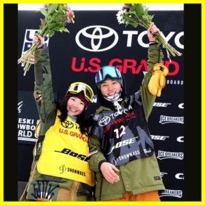 スロープスタイル決勝で共に2位となり、表彰台で喜ぶ男子の国武大晃と女子岩渕麗楽