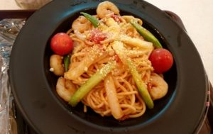 海老とアスパラのスパゲッティ